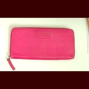 Cole Haan pink leather zip around wallet clutch